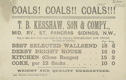 Advert for T B Kershaw, Son & Company, coal distributers